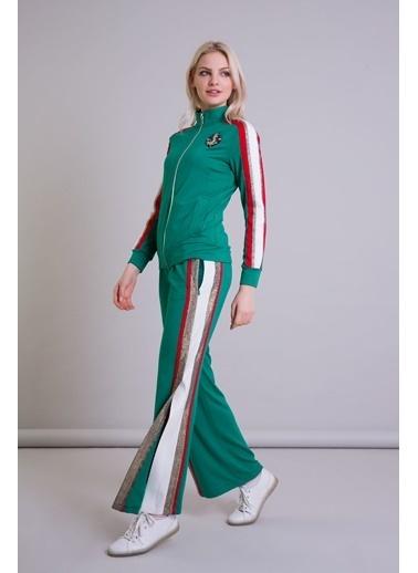 GIZIA Şerit Detaylı Geniş Paça Yeşil Spor Pantolon Yeşil